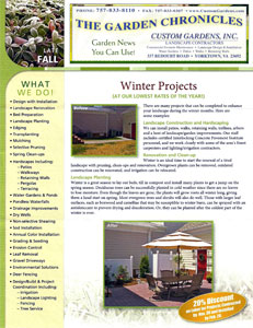 Custom Gardens Landscaping Newsletter